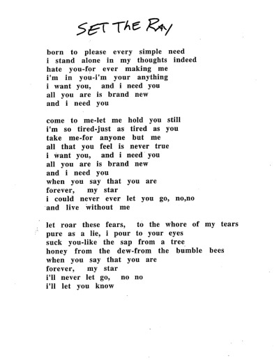 early typed lyrics