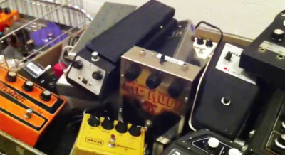 "Shin-ei 6-TR Fuzz-Wah (left of Big Muff), from ""Stompland"""