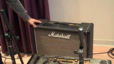 Marshall 2104 combo amp, in the studio (w/ Kerry Brown's hand on it)