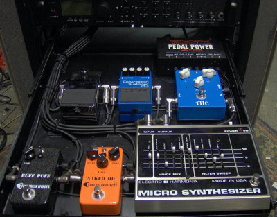 A shelf from Jeff's 2009 rack gear, w/ EHX Micro Synthesizer (bottom right)